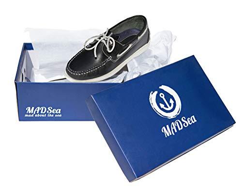 MADSea Herren All Summer Leder Bootsschuh, Blau - 8