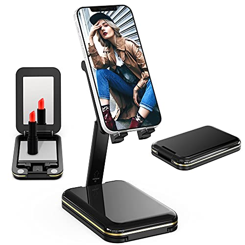 TIANLI Cell Phone Stand for Desk, Phone Holder Cradle Dock with Make-up Mirror Foldable Storage Extendable Angle Height Adjustable iPhone Stand Compatible with All Mobile Phone/Samsung,Black