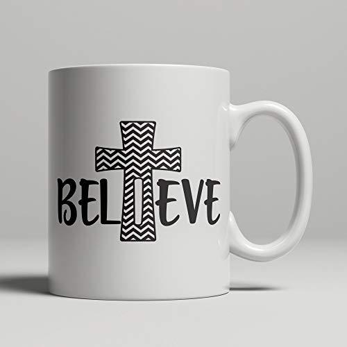 Taza de fe cristiana crucifijo con CREER, regalos religiosos adorno de arte cristiano, bautismo de confirmación o taza de café de bautizo