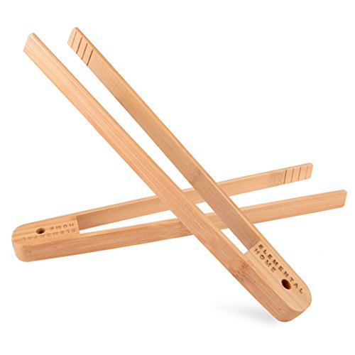 All Natural Bamboo Toast Tong by Elemental Home - 100% Natural, Eco-Friendly, Non-Toxic, and Safe 12 Inch Bamboo Tong, Dont Burn Your Fingers on the Toaster! (2-Pack)