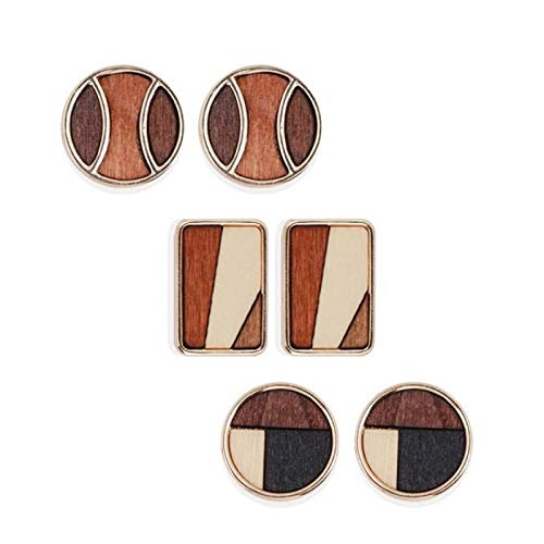 Pendientes de una sola aguja para mujer en plata 925 pendientes geométricos redondos de madera en contraste