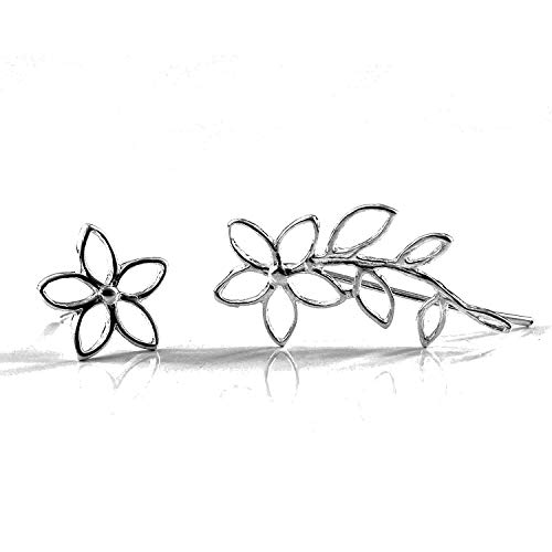Handmade Pair of 2 Different Earrings, Right Flower Ear Cuff and Flower Stud, Sterling Silver, Ear Climber, Mix and Match Earring Set, Handmade