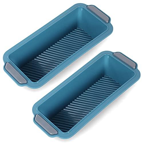 Bwelcam 2 Piezas Moldes para Hornear Pan,Moldes de Panadería Rectangular,molde de Plumcake de silicona,Antiadherente Molde para Pan y Tostadas