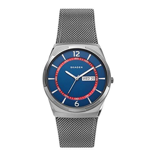 Skagen Herren Analog Quarz Uhr mit Edelstahl Armband SKW6503
