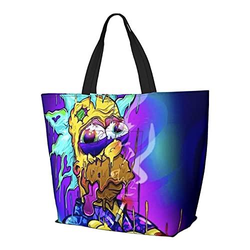 Rick Morty Bolsa de asas de dibujos animados estilo simplicidad gran capacidad bolsa de compras gimnasio playa viajes diario Unisex plegable
