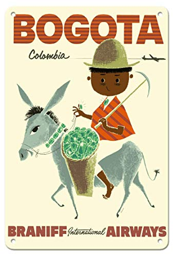 JuYiCk Cartel de viaje vintage de Bogotá, Columbia, con diseño de Andes Esmeralda, para decoración del hogar, oficina, garaje, letrero de lata de metal, 20,3 x 30,5 cm