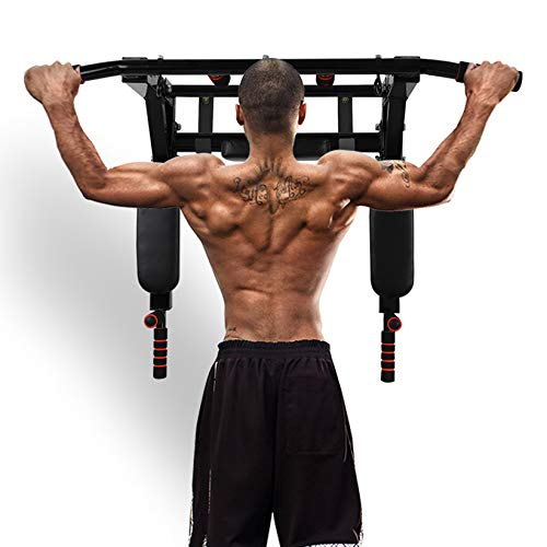 GHqY Multifunctional Wall Mounted Pull Up Bar,Dip Station for Indoor Gym Workout Power Tower Set Training Equipment Fitness Dip Stand Supports To 400Kg