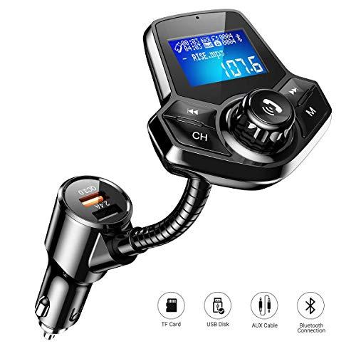 Transmisor FM Bluetooth, FM Transmisor Coche Bluetooth, Wireless Radio V4.2 Adaptador de...