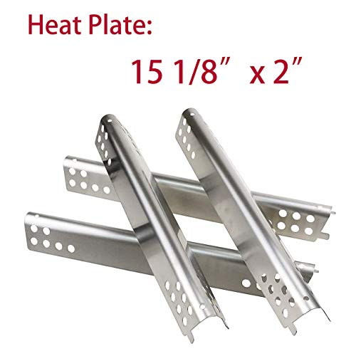 BBQ-Element Gas Grill Heat Plates Replacement Parts for Charbroil 463344015, 463343015, Stainless Steel Heat Tent, Burner Cover Replacement Parts for Charbroil 463433016, 463240115, 463240015. (4 PCS) Grill Heat Plates