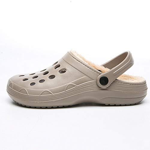 VOMI Invierno Suave Algodón Casa Zapatos Hombres Mujer Caliente Cómodo Impermeables Antideslizantes Zapatillas Interior Sencillez Durable Pantuflas,EU 43