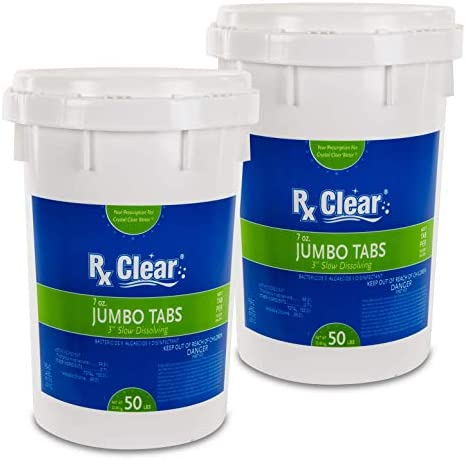 Rx Clear 3-Inch Individually Wrapped Chlorine Tablets | One 50-Pound Bucket | Use As Bactericide, Algaecide, and Disinfectant in Swimming Pools and Spas | Slow Dissolving and UV Protected
