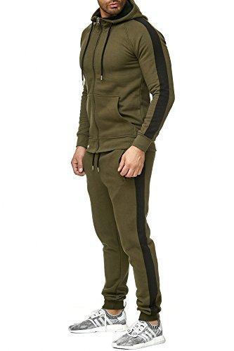 Tazzio Trainingsanzug Herren Sportanzug Jogginganzug Trainingsanzug Jogginghose Sporthose 17203 (L, Khaki New York)