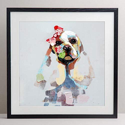 hetingyue Venedig abstrakte Leinwand Kunst Poster Tier Ölgemälde Pudel Hund abstrakte Wandbild Home Dekoration Leinwand rahmenlose Malerei 40x40cm