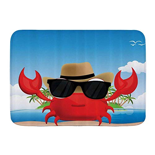 Alfombra de baño, Crustáceo fresco de cangrejo con gafas de sol negras y sombrero en las vacaciones de verano de la isla tropical, Alfombrillas de felpa para decoración de baño con respaldo antidesliz