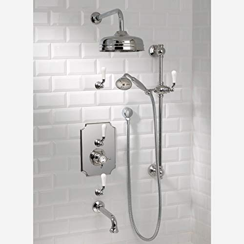 Best Buy! Thermostatic System with 12 Shower Head, 24 Slide Bar, Hand Shower, Wall Mounted Tub Spo...