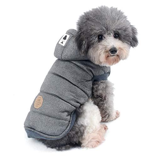 Ranphy Chaquetas de forro polar de algodón para perros pequeños, con capucha para cachorro, gato, abrigo de invierno de 2 patas trajes con capucha, chaleco suave, ropa para chihuahua, caniche
