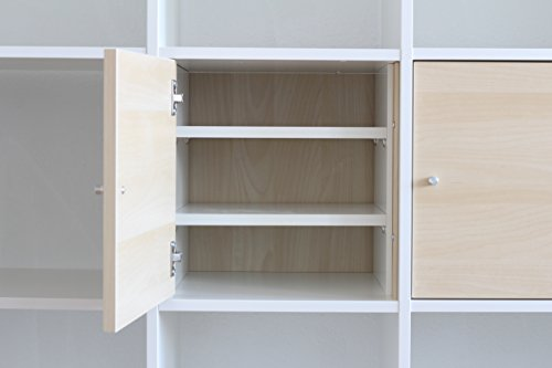 INWONA Extrafach für IKEA Kallax Tür Einsatz/Regaleinsatz mit 2 Fachböden/Extra Ablagefach/Stabile Regalböden sind verstellbar / 100% IKEA-Möbel kompatibel/Mehr Ablagefläche im Kallax Regal