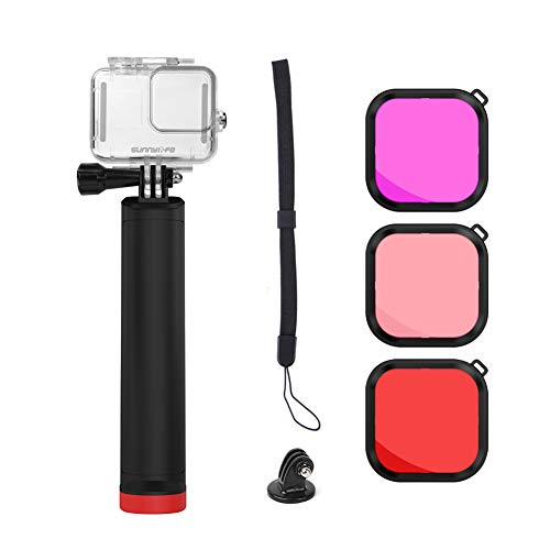 RONSHIN Sport Camera Waterdichte Shell Beschermende Cover Onderwater Fotografie Duiken Stick drijfvermogen Stick voor GoPro Hero 8 Camera Accessoires Elektronische Accessoires, as shown, 1 x koffer+3* filters+1* drijfvermogen stok
