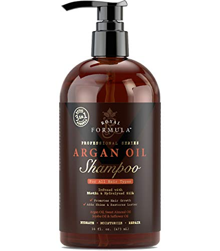 ROYAL FORMULA - Moroccan Argan Oil Shampoo Sulfate Free Infused with BIOTIN Moisturizing and Volumizing Shampoo SAFE for Color-Treated Hair, Best for Thinning Hair Regrowth for Men & Women 16 Fl. Oz
