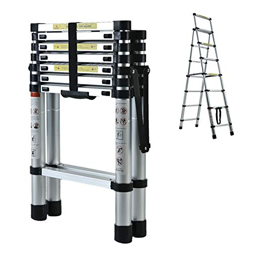Telescoping Ladder A-Frame Step Ladder 6+7, 6.4ft Heavy Duty Portable Aluminum Folding Extension Ladder with Handgrip Wide Step Platform 330lbs Max Load Capacity Safety Lock for Home DIY
