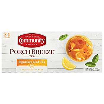 Community Coffee Porch Breeze Signature Iced Tea Bags Family Size Box of 24 Bags  Pack of 6