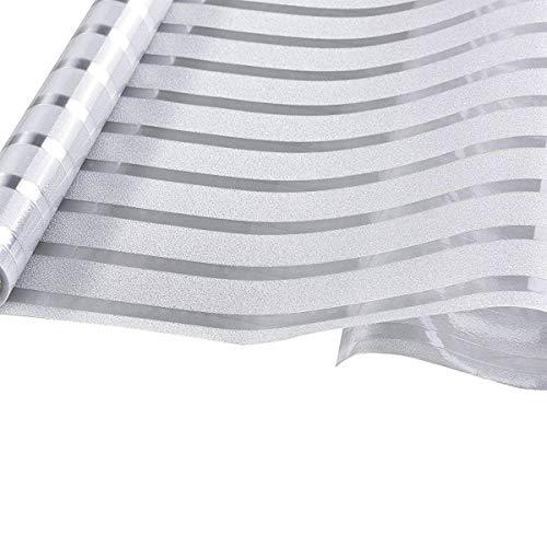 KWODE Fensterfolie Streifen Sichtschutzfolie Statische Folie ohne Klebstoff Büro und Zuhause Dekofolie 45x150CM