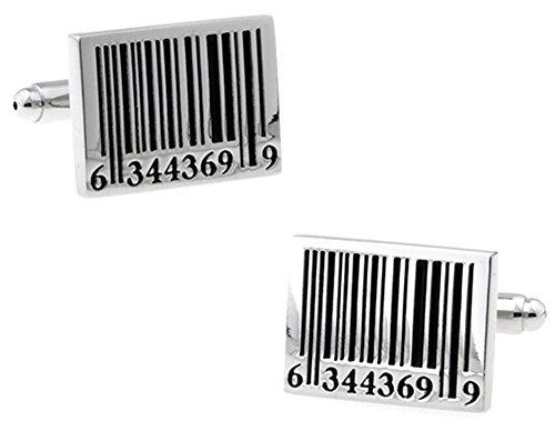 Boutons de manchette en argent avec codes à barres dans une boîte de présentation de luxe gratuite. Nouveauté Geek Technologie Thème Bijoux