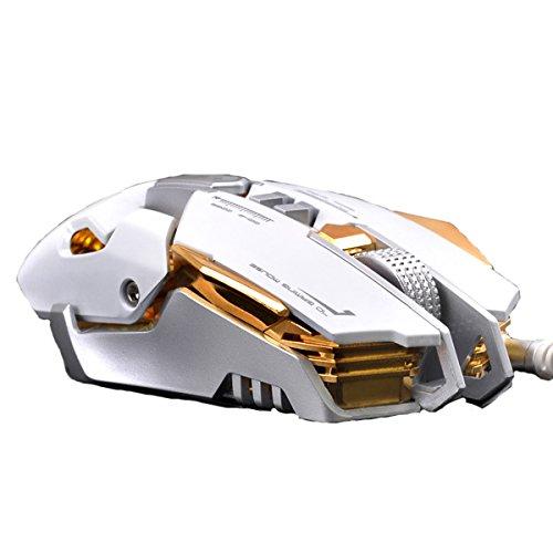 SHRJJ 2017 Nuevo Programación Macro Alianza Héroe Guerra CF Un Espía Instantáneo Clave Metal Mecánico Cable De Computadora Ratón De Juego,White