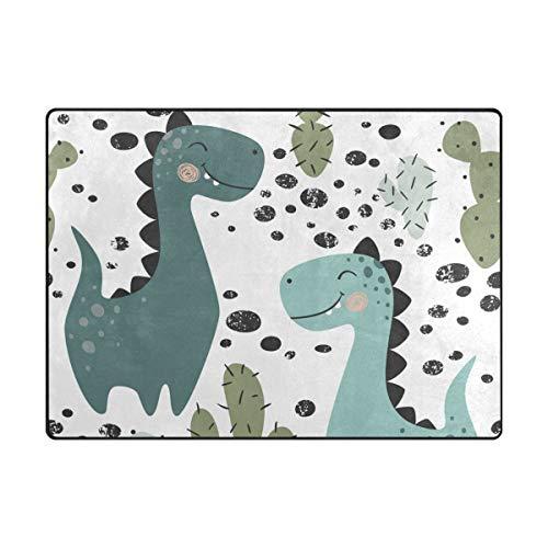 Orediy Weiche Teppiche Dinosaurier und Kaktus Leichter Bereich Teppich Kinder Spielmatte Rutschfest Yoga Kinderzimmer Teppich für Wohnzimmer Schlafzimmer, Schaumstoff, multi, 160 x 122 CM