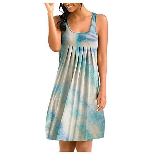 YANFANG Falda Sin Mangas De Cuello Redondo con Estampado Tie-Dye Posicionamiento para Mujer,Vestido Noche Corto,Vestidos Largos Verano Mujer,Vestidos Playa