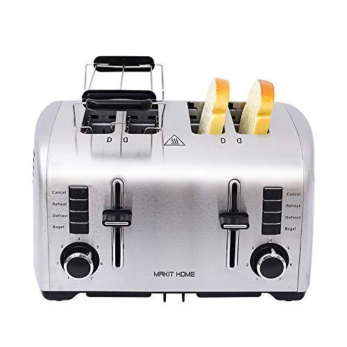 4 Slice Toaster,Extra Wide Slot 4 Slice Best Rated Prime Toaster,Stainless Steel Retro Kitchen Toaster,Small Bagel Toasters,Mini Bread Toasters Oven with 7 Shade Settings,Removable Crumb Tray