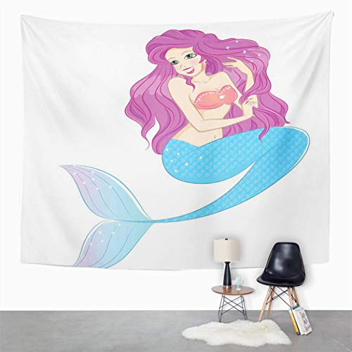 Y·JIANG Tapiz para colgar en la pared, diseño de sirena, color rosa, turquesa, fucsia, blanco, para dormitorio, 203 x 152 cm