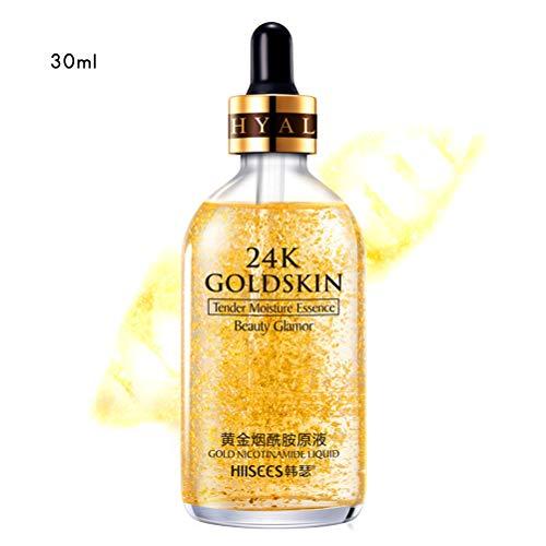 24K Gold Essence Anti Wrinkle Whitening Collagen Moisturizing Hyaluronic Acid Liquid,Anti-Aging Feuchtigkeitspflege Gel für Normale Hau,Trockene Haut,Fettige Haut, Mischhaut (30ML)