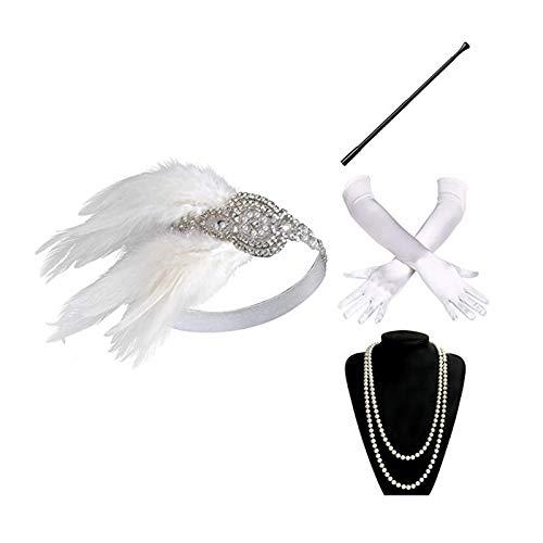 AmDxD Damen 20er Jahre Zubehörset Flapper Kostüm-Set Feder Retro Stirnband, Perlenkette, Zigarettenhalter, Handschuhe 1920er Jahre Halloween Kostümzubehör Weiß
