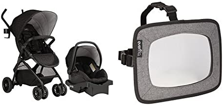 Evenflo Sibby Travel System, Charcoal with Backseat Baby Mirror for Rear Facing Child, Grey Melange