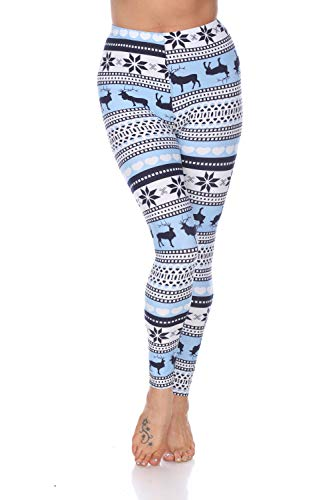 white mark Women's Holiday Reindeer & Snowflake Printed Leggings in Baby Blue & White - Plus Size