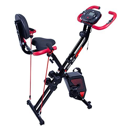 EVOLAND Bicicleta Estatica Plegable, Bicicleta Estática de Fitness Multinivel de Resistencia Magnética con Monitor Rítmo Cardíaco Viene con Mancuernas para Ejercicio Entrenamiento en Casa(Rojo+Negro)