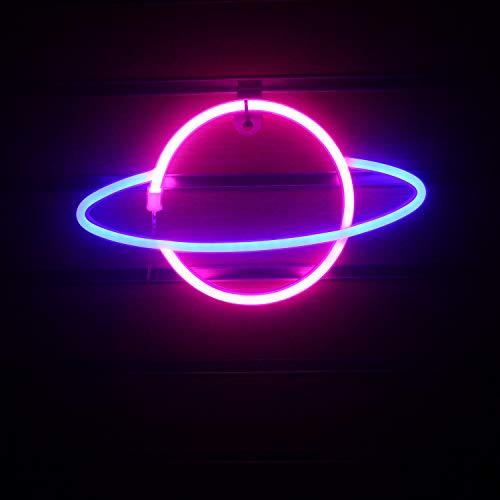 Blau Rosa Planet Leuchtreklamen Licht LED Nachtlicht Planet Wandleuchten USB/Batterie angetrieben Neonschild für Kinderzimmer Home Spiel Büro Dekoration Neujahrsgeschenk (11,8 '' × 7,1 '')