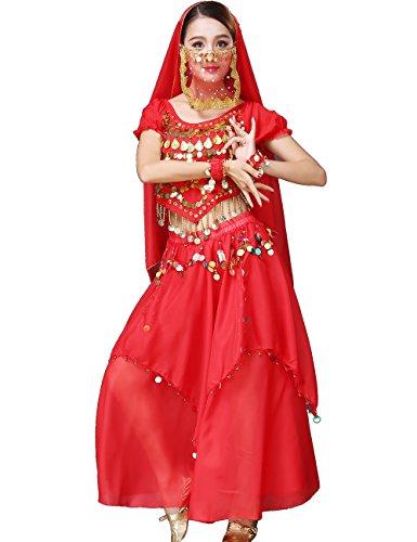 Astage Damen Tribal Röcke Bauchtanzkostüm Halloween Festival Partykleidung Rot