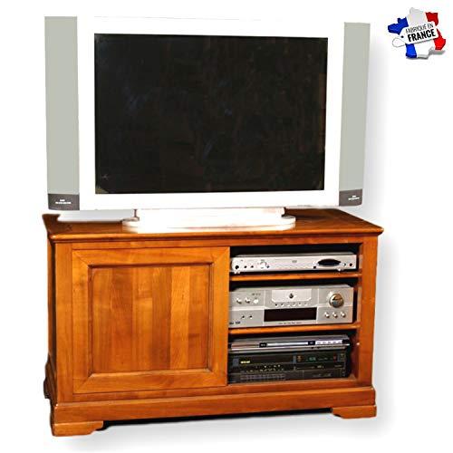 GONTIER TV-meubel, 1 schuifdeur, kersenhout, massief, collectie Flaubert, 100% in Frankrijk gemaakt 107x64x48 Merisier Teinte D