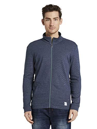 TOM TAILOR Herren T-Shirts/Tops Strukturierte Sweatjacke Blue mocktwist,M