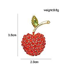 Red Rhinestone Apple Pin Brooche