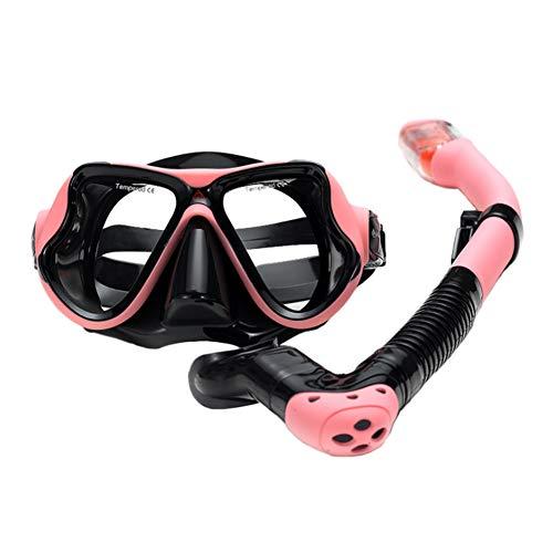 CGBF-Juego de Máscara de Buceo, Silicona Máscara Snorkel, Vidrio Templado y Hebillas Ajustables para Adultos,Easy Breath