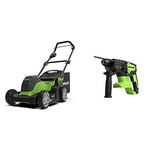 Greenworks Akku-Rasenmäher G24X2LM41K2x inklusive 2X 2Ah Akku und Ladegerät + Akku-Schlagbohrer GD24SDS2