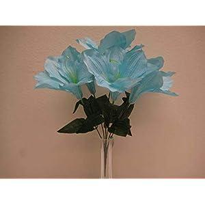 "JumpingLight 6 Bushes Blue Amaryllis 6 Artificial Silk Flowers 16"" Bouquet 647BL Artificial Flowers Wedding Party Centerpieces Arrangements Bouquets Supplies"