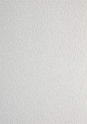 5x Weiß Dekorpapier, geprägt- Spitzenmuster mit Samt-Haptik, 180x250mm, handgemacht Effekt-Karton 150g, orientalischer Look, ideal für Einladungskarten, Hochzeit, Weihnachten, Basteln, Dekorationen