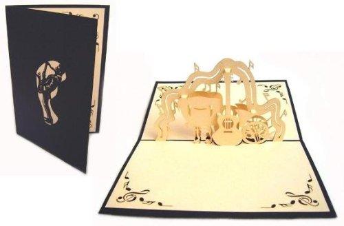 Tarjetas de felicitación de Lin Pop-up tarjetas de cumpleaños, tarjeta de felicitación de concierto de música, piano