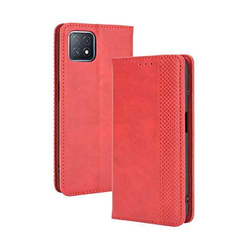 LEYAN Leder Folio Hülle für Oppo A73 5G, Lederhülle Brieftasche Mit Kartensteckplätzen, Premium Flip PU/TPU Handyhülle Schutzhülle Hülle Cover mit Ständer Funktion (Rot)