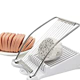 FENGCHEN Egg Slicer For Hard Boiled Eggs Luncheon Meat Slicer Fruit Slicer Stainless Steel Soft Food Cheese Sushi Cutter Meat,Cutting Machine With 10 Singing Cutting Wires in Stainless Steel