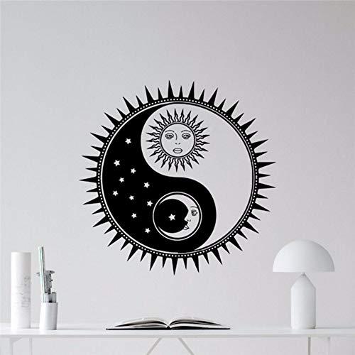 Yologg 56X56 Cm Sol Y Luna Yin Yang Tatuajes De Pared Estrellas Vinilo Removible...